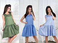 Свободное платье хаки небесный голубой 31206, фото 1