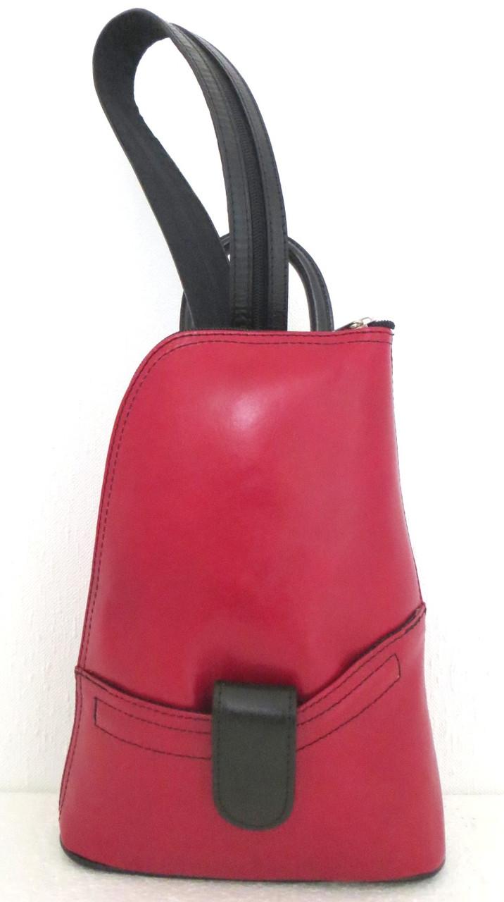 Повседневная сумка-рюкзак из кожи, красный с черным  (Италия)