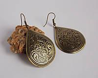 Серьги латунные в форме капли с растительным орнаментом. Славянские украшения