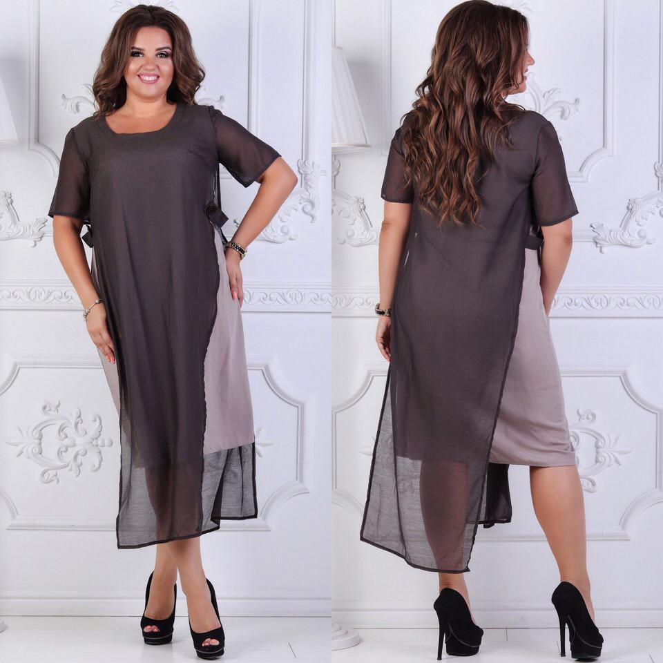 Платье миди больших размеров 48+ из комбинированной ткани  арт 6233-504