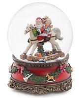 """Декоративный водяной шар Санта на лошади 20см с музыкой """"В лесу родилась ёлочка"""" на заводном механизме"""