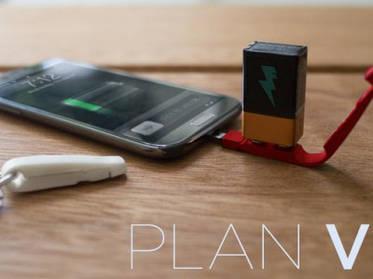 Plan V - компактное зарядное устройство, работающее от 9-вольтовой батарейки