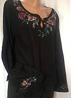 Блуза женская Laura Ashley, черная, батистовая с яркой вышивкой размер M, фото 1