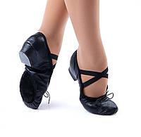 Туфли кожанные на каблуке тренировочные