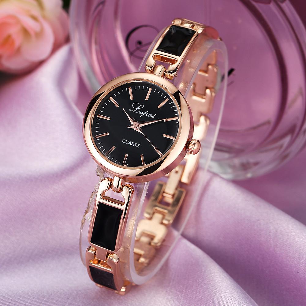 Женские часы Lupai rose gold с черным, жіночий наручний годинник, женские наручные часы на браслете