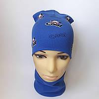 Трикотажная шапка с хамутом двойная р 48-52