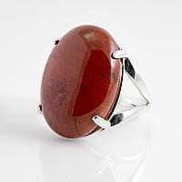 Яшма красная, 25*18 мм., серебро 925, кольцо, 087КЯ