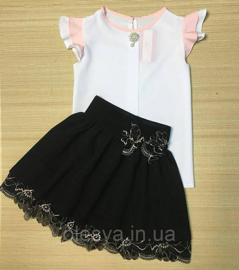 Школьная блуза с крылышками розовыми Размеры 122, 134