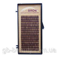 Искусственные волоски для бровей WOWBROW, один размер, темно-коричневые, 0,07 J 7 (16 линий)