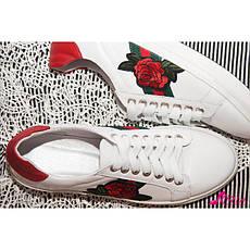 Белые кожаные кеды с цветами