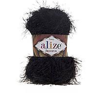Турецкая пряжа для вязания нитки Alize DECOFUR (Декафур) травка 60 черный