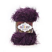 Турецкая пряжа для вязания нитки Alize DECOFUR (Декафур) травка 304 фиолетовый