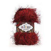 Турецкая пряжа для вязания нитки Alize DECOFUR (Декафур) травка 1373 красный бордо
