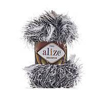 Турецкая пряжа для вязания нитки Alize DECOFUR (Декафур) травка 1366 белый с черным