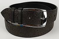 Ремень кожаный брючный King Belts 40 мм с тиснением Роза черный