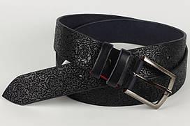 Ремень кожаный брючный King Belts 40 мм с тиснением Роза синий