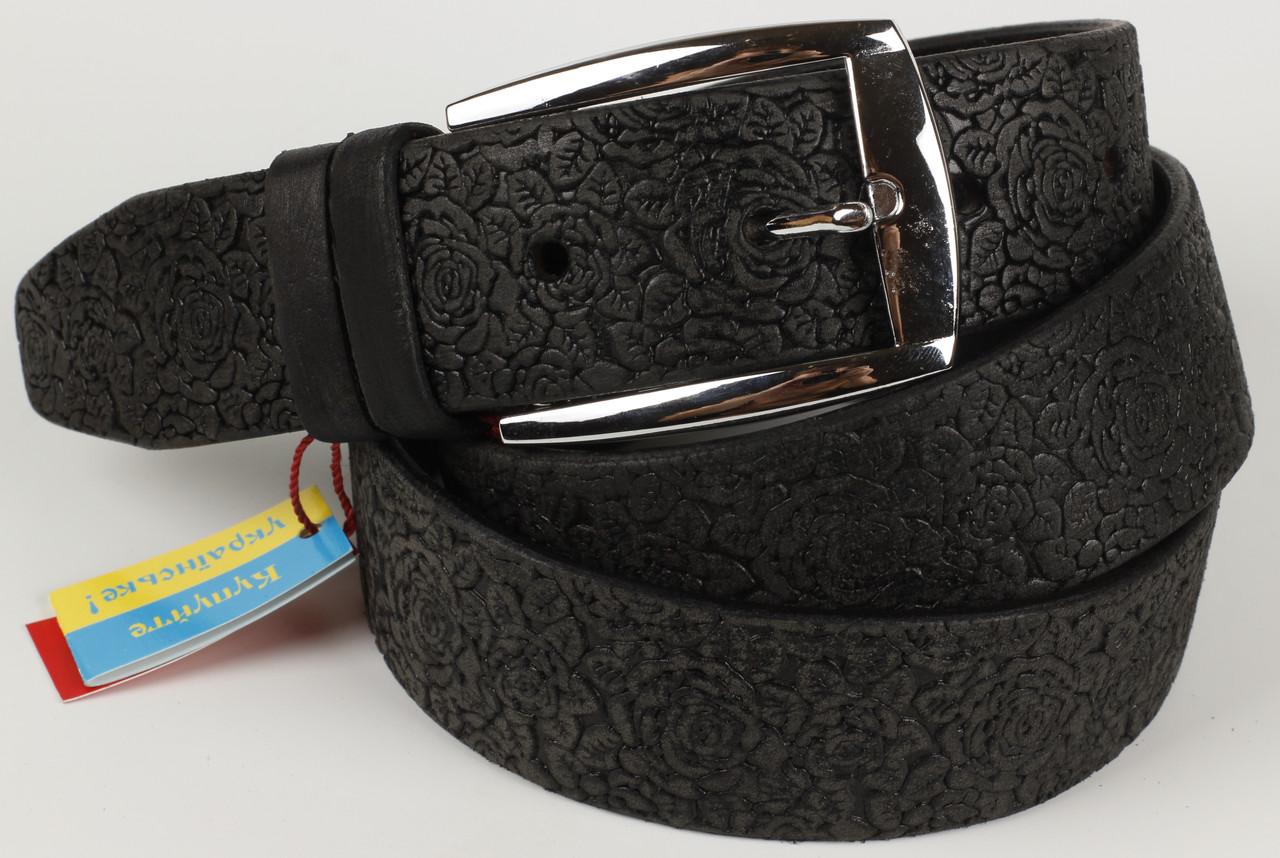 Ремень кожаный брючный King Belts 40 мм с тиснением Роза черный тертый