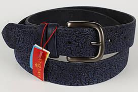 Ремень кожаный брючный King Belts 40 мм с тиснением Роза синий тертый