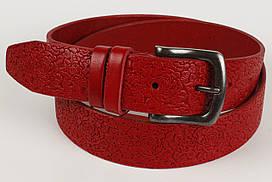 Ремень кожаный брючный King Belts 40 мм с тиснением Роза красный