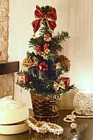 Елка искусственная  украшенная 30 см Золото +красный 0304RG