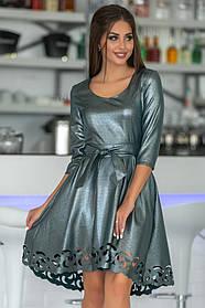 К669 Коктейльное платье с блеском (размеры 44-52)