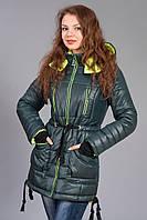 Зимняя женская молодежная куртка - парка. Код К-48-12-15. Цвет темно зеленый с лимонным.