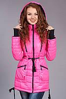 Зимняя женская молодежная куртка - парка. Код К-48-12-15. Цвет розовый с черным