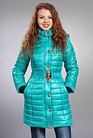 Зимняя женская молодежная куртка. Код К-52-12-15. Цвет бирюзовый.