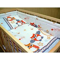 Бортики в детскую кроватку защита со съемными чехлами Сова серая