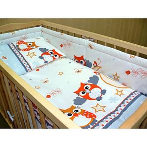 Детское постельное белье и защита (бортик) в детскую кроватку (сова серый), фото 2
