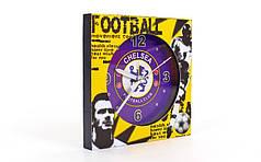 Часы настольные футбольные с будильником CHELSEA FB-1963-CHELS (пластик, р-р 12*12см)