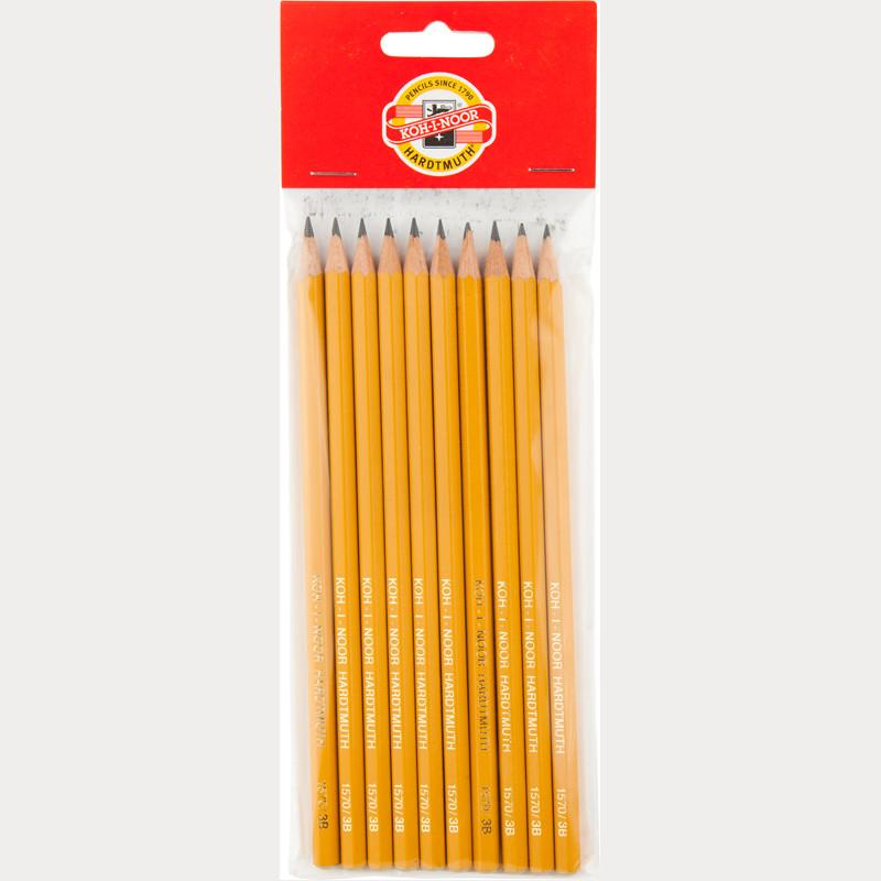 Олівець графітний 1570, 3B (полібег 10 шт)