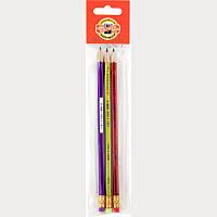 Олівець графітний ORIENTAL, НВ гумка (полібег 3шт)