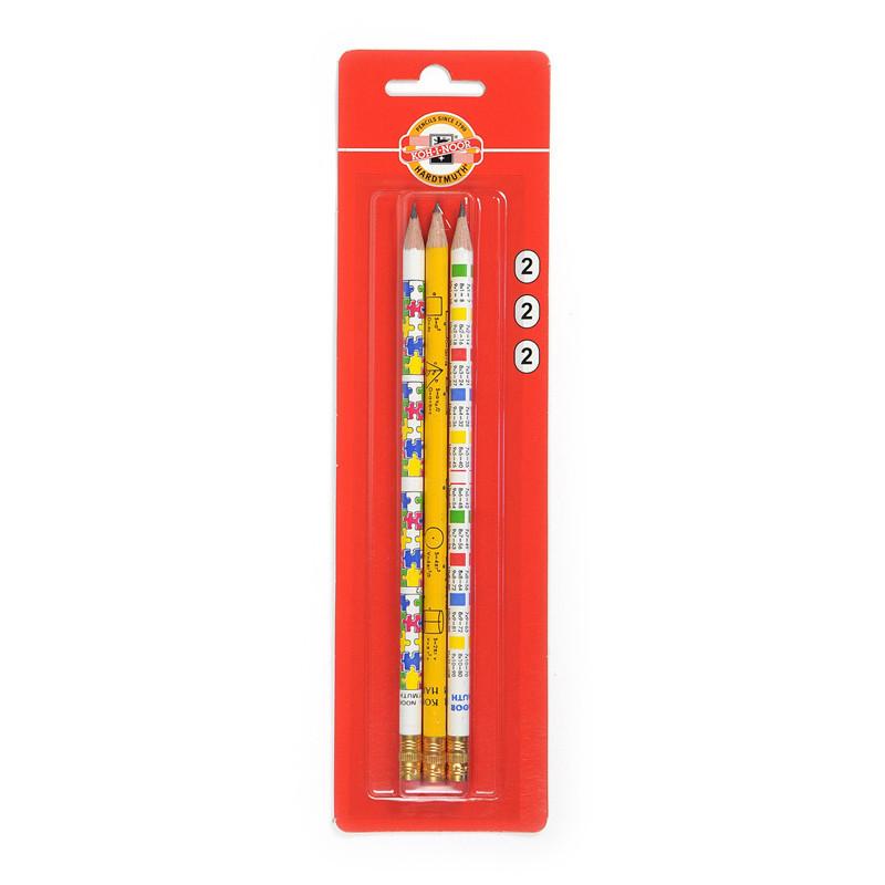 Олівець графітний, НВ, гумка, табл. множ (п-г 3шт)
