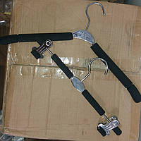 Плечики-вешалка чёрная с паролоновыми вставками