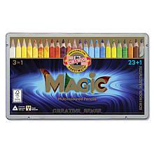 Олівці кольорові MAGIC, 23 шт.+блендер, мет.уп.