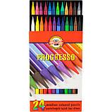 Олівці кольорові бездеревні PROGRESSO, 24 шт., фото 2