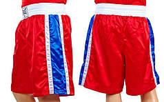 Трусы боксерские ELAST ULI-9014-R (полиэстер, р-р M-XL, красные, синяя полоса)
