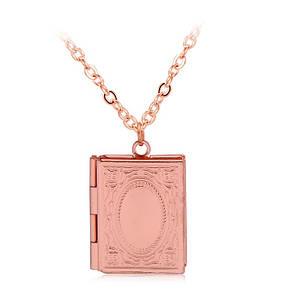Медальон книга с местом для фото внутри розовое золото