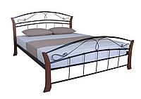 Кровать двуспальная из металла с деревом  Селена Вуд