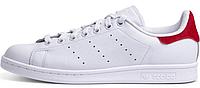 Женские кроссовки Adidas Stan Smith White / Red (Адидас Стан Смит, белые / красные)