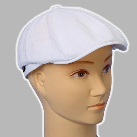Мужская кепка восмиклинка белый лён  с регулировкой 57-58-59