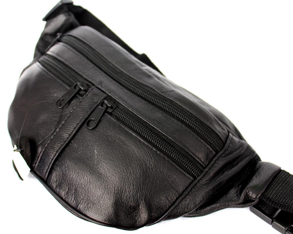 Мужская сумка - бананка из натуральной кожи (903ч)