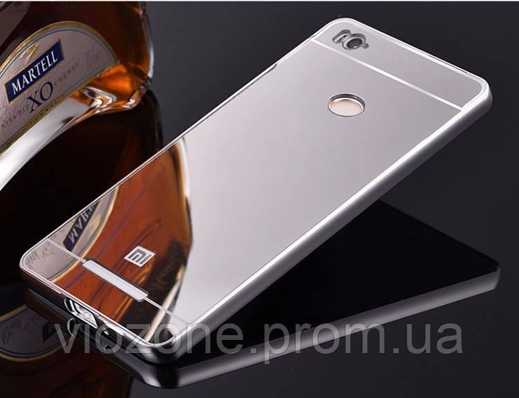 Зеркальный Чехол/Бампер для Xiaomi Redmi 3s Серый (Металлический)