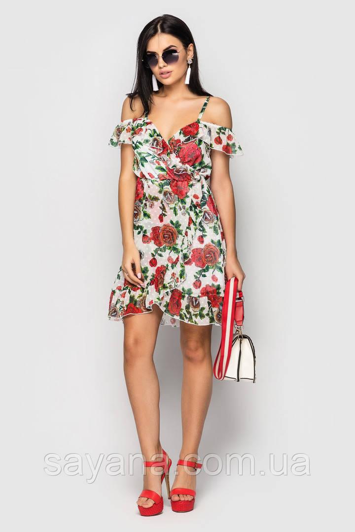 """Женское платье """"Lorensoft-1"""" на запах из шифона, в расцветках. ЛА-5-0718"""