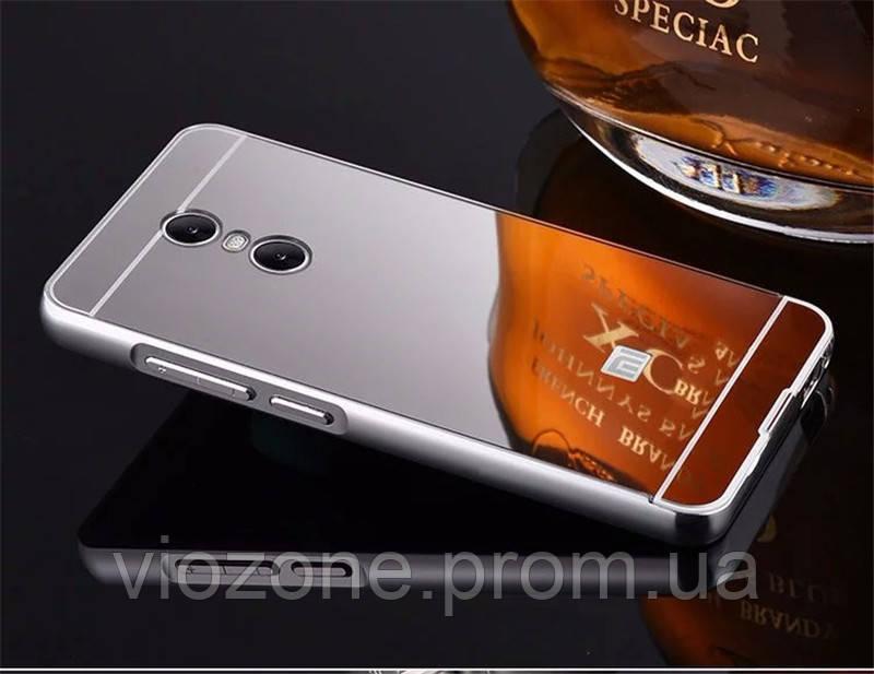 Зеркальный Чехол/Бампер для Xiaomi Redmi Note 4 Серый (Металлический)