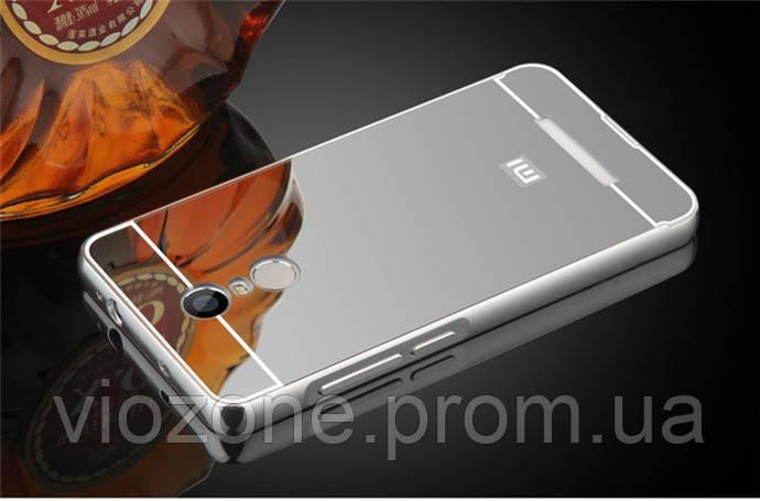Зеркальный Чехол/Бампер для Xiaomi Redmi Note 4x Серый (Металлический)