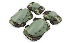 Защита тактическая наколенники, налокотники BC-4039-WL (р-р XL, ABS, PL-600D, камуфляж Woodland)