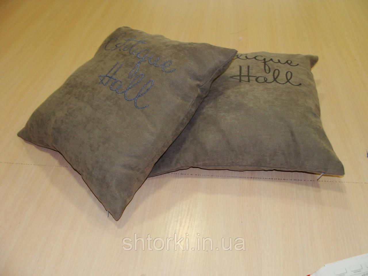 Комплект подушек серые с надписью, 40х40см