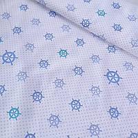 Бязь с голубыми штурвалами и точечкой, ширина 150 см, фото 1